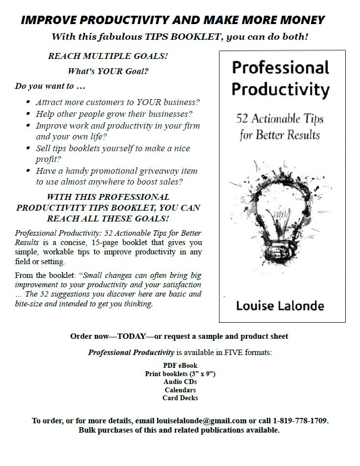 Professional Productivity Tips Louise Lalond ad